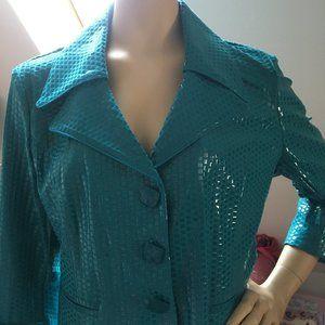 VTG Turquoise Wet Look Blazer Delaware Boutique